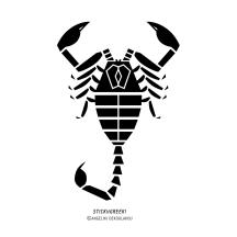 """STICKitGREEK_04"" Modern design of a scorpion, made by Elias Dekoulakos / Μοντέρνο σχέδιο σκορπιού, του Ηλία Δεκουλάκου."
