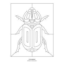 """""""STICKitGREEK_13"""" Modern design of a beetle with a horn, made by Elias Dekoulakos / Μοντέρνο σχέδιο σκαθαριού με κέρατο, του Ηλία Δεκουλάκου."""