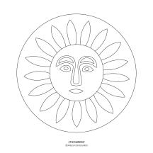 """STICKitGREEK_12"" Modern design of the sun, made by Elias Dekoulakos / Μοντέρνο σχέδιο με έναν ήλιο, του Ηλία Δεκουλάκου."