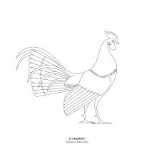 """STICKitGREEK_23"" Modern design of a rooster, inspired by an ancient Greek red-figure vessel of the archaic period, which shows a mythical creature of the Greek Mythology. It is called Ippalektrion (horserooster) and is a type of fantastic hybrid animal of the ancient folklore, half horse and half rooster, with yellow or palm wings; where often it appears with a rider on top. Recreation of a modern design, made by Angeliki Dekoulakou / Μοντέρνο σχέδιο με κόκορα, εμπνευσμένου από αρχαίο ελληνικό ερυθρόμορφο αγγείο αρχαϊκής περιόδου, που απεικονίζει ένα φανταστικό ον της Ελληνικής μυθολογίας. O Ιππαλεκτρυών (αλογοκόκορας) είναι ένας τύπος φανταστικού υβριδικού πλάσματος της αρχαίας ελληνικής λαογραφίας, μισό άλογο και μισό-κόκορας, με κίτρινα φτερά ή φτερά από φοίνικα, όπου συχνά εμφανίζεται και με έναν αναβάτη. Αναδημιουργία σε μοντέρνο σχέδιο της Αγγελικής Δεκουλάκου."
