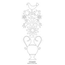 """STICKitGREEK_11"" Modern design of a vase with flowers and a rooster on top, inspired by the Greek folk architecture, made by Elias Dekoulakos / Μοντέρνο σχέδιο με βάζο και λουλούδια και έναν κόκορα στην κορυφή, εμπνευσμένο από την λαϊκή ελληνική αρχιτεκτονική, του Ηλία Δεκουλάκου."